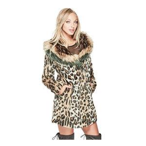 GUESS Natalia Faux Fur Coat Animal Print Jacket